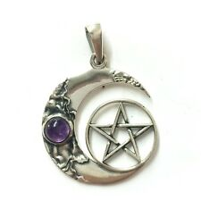 new Sterling Silver 925 Star Moon Amethyst pendant