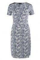 SMASHED LEMON White & Navy Printed Dress, UK 10 12 14 16 18