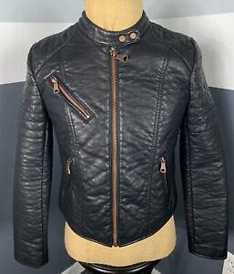 Marc New York Faux Leather Full Zip Jacket Coat Moto Motorcycle Black - Medium