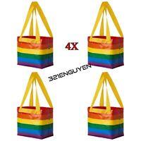 4 Pack IKEA STORSTOMMA Rainbow Shopping Bag Tote 3 Gallon Bag