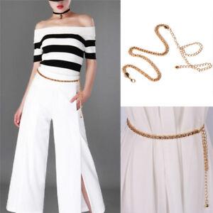 Womens Gold Mesh Waist Chain Band Metal Chain Charm Belt Fashion Skinny B^jg