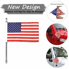 14inch Silver Metal Antenna w/ USA Flag 8mm for Jeep Wrangler JK 2007-2017