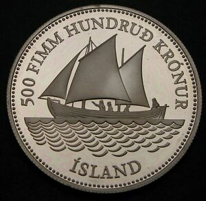 ICELAND 500 Kronur ND(1986) Proof - Silver - Ann. of Icelandic Banknotes - 853