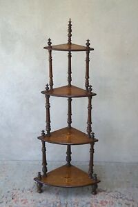 Antique Corner Shelves Whatnot Stand Intricate Inlay  - Delivery Available