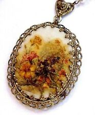 """Vintage Glass Micro Bead CAMEO Western Germany Victorian Filigree 24"""" Necklace"""