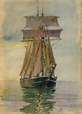 SAILING SHIP IN CALM WATER Painting CHARLES VERNON METHLEY c1930 SEASCAPE