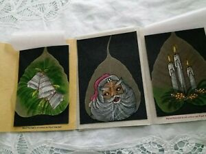 Hand painted in Oil Indian Skeleton PIPAL Leaf art Christmas Lot of 3