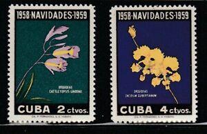 Caribbean   Cu   1958   Sc # 611-12   Orchids   VLH   (54752)