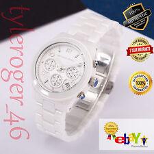 New Michael Kors Women's Runway Ceramic White MK5161 Chronograph Wrist Watch