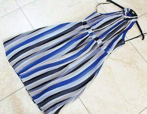 PRINCIPLES by Ben deLisi blue grey mix stripe chiffon dress UK 10 NEW
