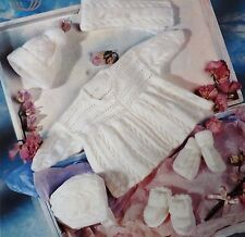 Baby Matinee Coat Knitting Pattern Vintage Bonnet Shoes Mittens Hat Scarf S3668