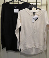 WOMEN'S CALVIN KLEIN PULLOVER,LONGBACK SWEATER~BLACK&WHITE~MANY SIZES~FREE SHIP~