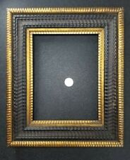 New Listing1850 American Ebonized Dutch Ripple Primitive Picture Frame Nice! 13.5 x 11.5
