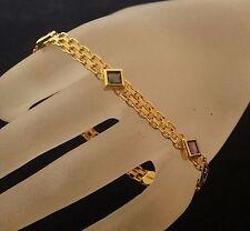 """Vintage 14k Solid Gold Accents Multi-color Gems Bracelet 7.25"""" L  9.6 grams"""