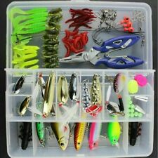 101Pcs Fishing Lures Pike Trout Bass Spoons Spinners Bait Metal Tackle New