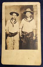 1900s RPPC Cowboys Guns Revolvers Wooly Chaps Western REAL PHOTO Antique Rare