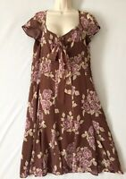 M&S Autograph Dress Size 16 Flower Floral BNWT RRP £45 Brown Chocolate Floaty