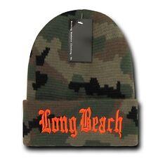 "Camo & Orange Long Beach LBC Embroidery 12"" Long Cuffed Vintage Beanie Beanies"