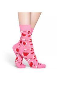WOMEN's NEW HAPPY SOCKS Pink/Red Womens Socks SIZE: 9-11