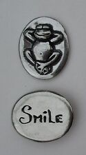 p Smile happy frog spirit HANDCRAFTED PEWTER POCKET TOKEN CHARM basic coin luck