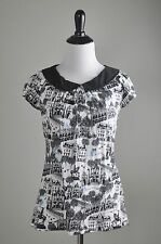 POSTMARK $68 Darling Cat Bicycle Old City Scape Peterpan Collar Top Size XS