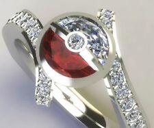 2.2 Ct Half White & Red Round Shape Pokemon Pokeball 925 Silver Engagement Ring