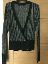 Karen Millen Black & Silver Sparkly Cardigan Size Small (UK 8-10) With 3 Buttons