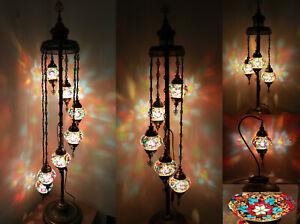 Beautiful 1/3/5/7 Multicolour Ball Turkish Moroccan Glass Floor/Table Lamp