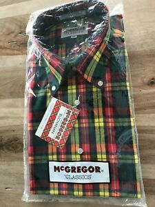 Vintage McGregor CLASSICS Mens Medium Button Front RED~GREEN~YELLOW~PLAID~NWT