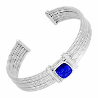4 3/5 ct Created Sapphire & 1/5 ct Diamond Cuff Bracelet in Sterling Silver