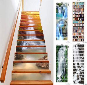 13pcs 3D Stair Riser Staircase Sticker Photo Mural Vinyl Decal Scenery Wallpaper