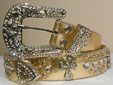 CHIC & SEXY WESTERN RODEO  Rhinestone Crystal GOLD BLING CROSS BELT Size Large