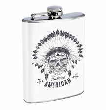 Flask Native American Skull 01R 8oz Stainless Steel Hip Drinking Whiskey