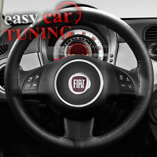 FOR NEW FIAT 500 2007 +  BLACK REAL GENUINE ITALIAN LEATHER STEERING WHEEL COVER