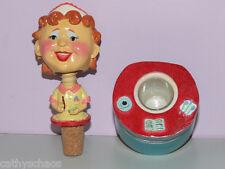 Ceramic Bobble Head Retro Waitress Wine Wobbler Bottle Stopper Mothers Day Gift