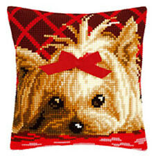 Yorkshire with Bow :Vervaco Chunky Cross Stitch Cushion Kit - PN0146989