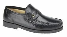 SIZE 7 8 9 10 11 MENS SOFT BLACK LEATHER SLIP ON CASUAL COMFORT LIGHTWEIGHT SHOE
