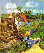 Oil painting Vincent Van Gogh - House in Auvers with woman in landscape canvas