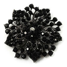 Vintage Black Rhinestones Flower Shaped Brooch Pin BR175
