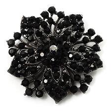 Vintage Black Rhinestones Flower Shaped Brooch Pin BR175