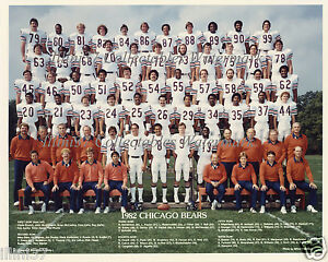 1982 CHICAGO BEARS 8X10 TEAM PHOTO MCMICHAEL SINGLETARY VAN HORNE MCMAHON ROOKIE