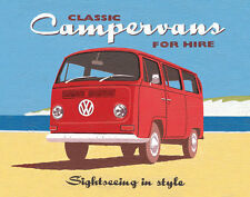 Campervans for hire art poster print camping sign by Martin Wiscombe