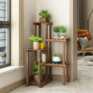 Vintage 6 Tier Wooden Corner Plant Stand Ladder Potted shelf Balconie Terrace UK