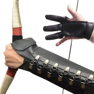 Traditional Longbow Archery Gloves+Arm Guards Leather Protector Shooting Gear