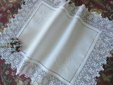 More details for antique hd embroidered linen tray cloth - hindi 'well being' crochet lace symbol