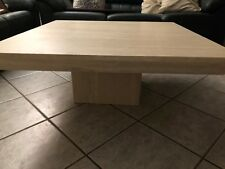 Travertine coffee table - vein-cut, filled finish, with bevelled edge