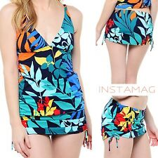 TOMMY BAHAMA Tropical Leaf V-Front Tankini & Skirted Hipster Bikini Bottoms NWT