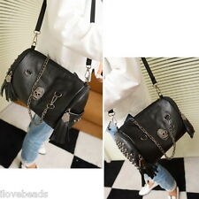 Womens Black Leather Skull Rivet Tassels Handbag Single-shoulder Bag Knapsack