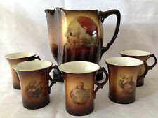 C.1900 Antique Warwick Ioga Large Pitcher Jug and 5 Mugs Set Cardinal Monks