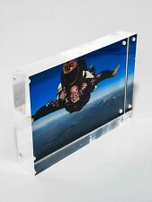 Magnetic Acrylic Clear Free Standing 4 x 6 Photo Block Picture Frame & Gift Box